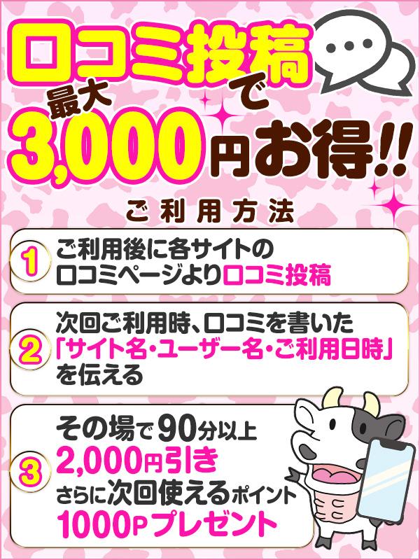口コミ書き込みで3,000円お得です!!